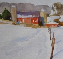 "<h5>Red Barn Southern 6""x6"" Watercolor </h5>"