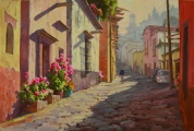 <h5>Streets of San Miguel 24x36 oil</h5><p>Available through Matteucci Gallery, Santa Fe NM. www.matteucci.com</p>