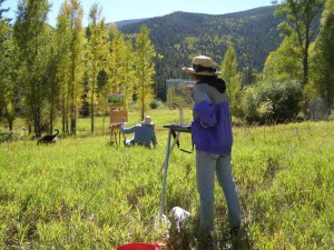 Students painting during a plein air outdoor painting workshop with Chris Morel